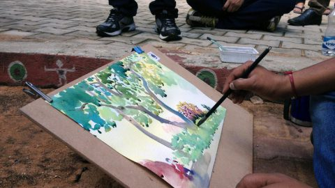 Landscape outdoor drawing class