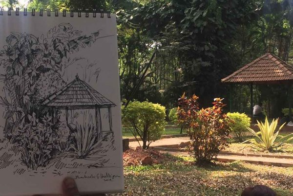 Outdoor realistic painting classes, sketching courses in Bangalore