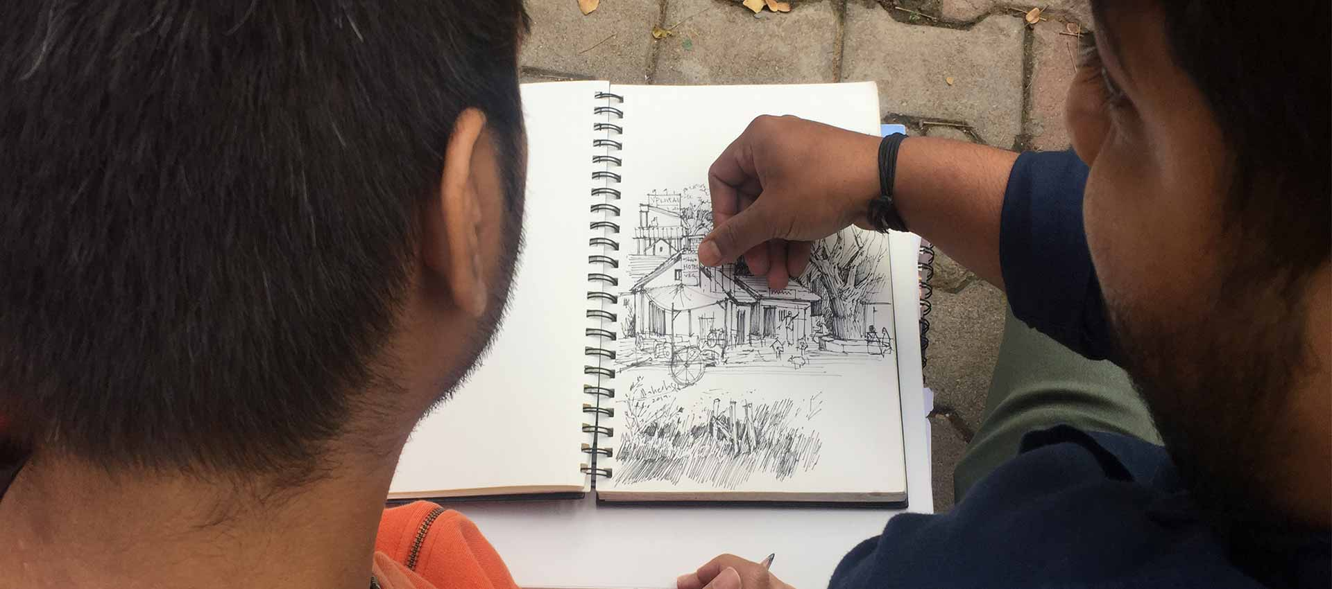 Outdoor realistic sketching classes in Bangalore