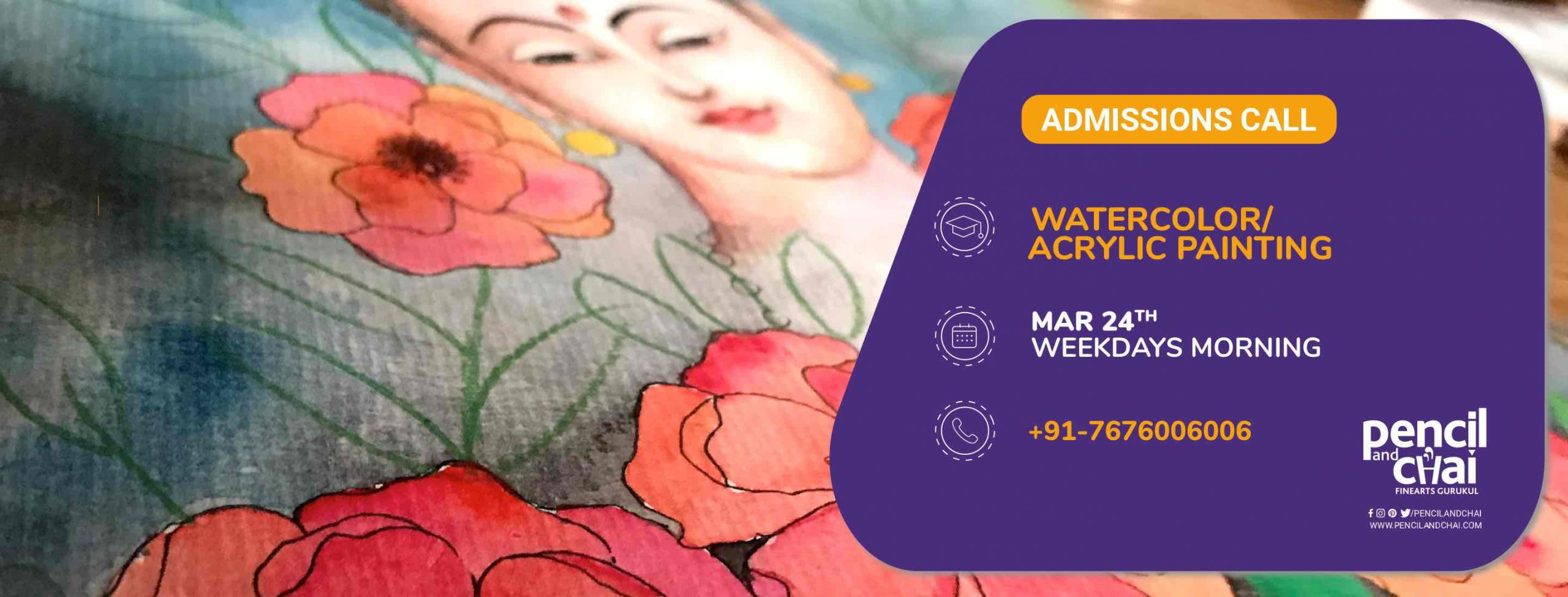 New Watercolor & Acrylic Painting Course for Adults by Pencil & Chai.